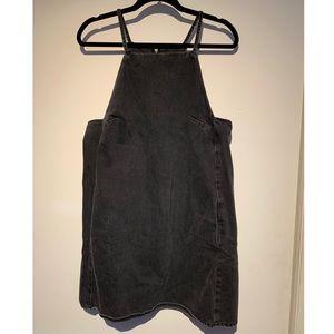 Washed black denim Topshop moto mini dress